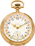 Timepieces:Pocket (post 1900), Elgin Choice Gold 18 Size With Rare Double Sunk Fancy Dial, circa 1911. ...