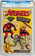 Silver Age (1956-1969):Superhero, The Avengers #2 (Marvel, 1963) CGC NM 9.4 Off-white to whitepages....