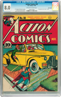 Action Comics #30 Billy Wright pedigree (DC, 1940) CGC VF 8.0 Off-white to white pages