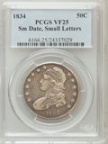 Bust Half Dollars: , 1834 50C Small Date, Small Letters VF25 PCGS. PCGS Population(19/843). NGC Census: (0/0). (#6166)...