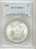 Morgan Dollars, 1899 $1 MS63+ PCGS. PCGS Population (3401/4794). NGC Census:(2414/3383). Mintage: 330,846. Numismedia Wsl. Price for probl...
