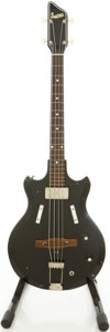 Musical Instruments:Electric Guitars, 1960 Supro Pocket Bass Black Electric Bass Guitar, #T41772....