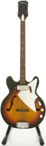 Musical Instruments:Electric Guitars, 1960's Harmony H-22 Sunburst Semi-Hollowbody Electric Bass Guitar,Serial # 4281H22-1....