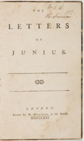 Books:World History, Junius [pseudonym probably for Sir Francis Philip]. The Lettersof Junius. London: Printed for W. Morrison, 1771...