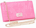 Luxury Accessories:Bags, Heritage Vintage: Fendi Pink Logo Embossed Leather ShoulderBag with Chain. ...