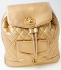 Luxury Accessories:Bags, Heritage Vintage: Chanel Gold Lambskin Leather QuiltedBackpack. ...