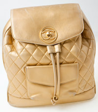 Heritage Vintage: Chanel Gold Lambskin Leather Quilted Backpack