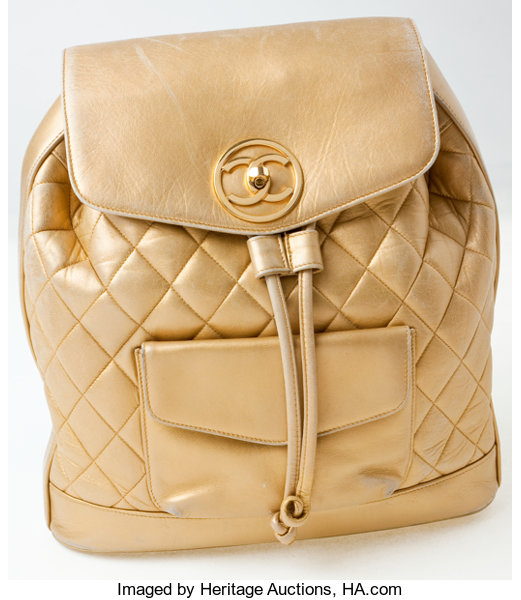 de8749bac704 Heritage Vintage  Chanel Gold Lambskin Leather Quilted Backpack ...