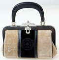 Luxury Accessories:Bags, Heritage Vintage: Roberta di Camerino 1970's Beige, Black,and Brown Velvet Bagonghi Bag with Meridiana Design. ...
