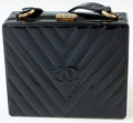 Luxury Accessories:Bags, Heritage Vintage: Chanel Vintage Black Chevron Quilted PatentLeather Shoulder Bag. ...