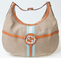 Luxury Accessories:Bags, Heritage Vintage: Gucci GG Logo Canvas Hobo Bag with LeatherTrim and Blue & White Stripe. ...