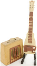 Musical Instruments:Lap Steel Guitars, Early 1950's Gibson BR-9 Tan Lap Steel Guitar and Amplifier....