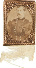 Political:Ferrotypes / Photo Badges (pre-1896), George McClellan: Napoleonic Pose Gem Albumen Badge....