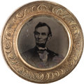 Political:Ferrotypes / Photo Badges (pre-1896), Abraham Lincoln: Distinctive 1864 Ferrotype Badge....