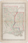"""Books:Maps & Atlases, [Samuel Augustus Mitchell, Jr.]. County Map of the States of Arkansas Mississippi and Louisiana. 21"""" x 13.75"""". C..."""