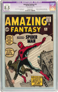 Silver Age (1956-1969):Superhero, Amazing Fantasy #15 (Marvel, 1962) CGC Apparent VF+ 8.5 Extensive(P) Off-white pages....