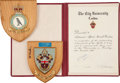 Transportation:Space Exploration, Al Worden: British Award Certificate and Two Plaques Originallyfrom His Personal Collection, Signed.... (Total: 3 Items)
