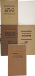 Western Expansion:Goldrush, [Alaska Gold Mining]. Lot of Five Reports for the Alaska Gold MinesCompany... (Total: 5 Items)
