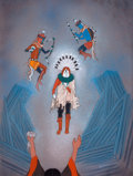American Indian Art, BEATIEN (LITTLE NO SHIRT) YAZZ (American, b. 1928). Vision ofthe Gods. Gouache on board. 30.5 x 27 inches (77.5 x 68.6 ...