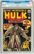 Silver Age (1956-1969):Superhero, The Incredible Hulk #1 (Marvel, 1962) CGC VG+ 4.5 White pages....