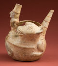 American Indian Art:Pottery, Lambayeque Jaguar Fertility Bottle . ...