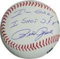 "Autographs:Baseballs, Pete Rose ""I'm Sorry I Shot J.F.K."" Single Signed Baseball...."
