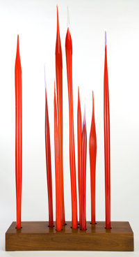 DALE CHIHULY (American, b. 1941) Water Reed Installation, 1997 Nine glass reeds, tape used for casts