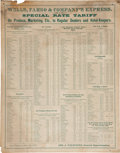 Western Expansion:Goldrush, Wells Fargo: 1879 Purveyor's Rate Chart....