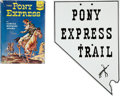 Western Expansion:Cowboy, Pony Express: Nevada Enameled Pony Express Sign and Copy of SamuelHopkins Adams' Book The Pony Express.... (Total: 2 Items)