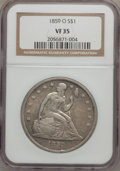 Seated Dollars: , 1859-O $1 VF35 NGC. NGC Census: (7/457). PCGS Population (16/686).Mintage: 360,000. Numismedia Wsl. Price for problem free...
