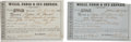 Western Expansion:Cowboy, Wells, Fargo & Company: Pair of Receipts, Circa 1859-1860....