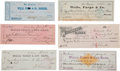 Western Expansion:Cowboy, Wells, Fargo & Company: Lot of Six Checks, Circa 1854-1892....