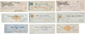 Western Expansion:Cowboy, Wells, Fargo & Company: Lot of Nine Checks Including One Signedby Adolph Sutro, Circa 1854-1893....