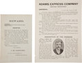 Western Expansion:Cowboy, Adams Express Company and United States Express Company WantedBroadsides, Circa 1891....