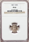 Proof Seated Half Dimes: , 1867 H10C PR63 NGC. NGC Census: (22/142). PCGS Population (61/85).Mintage: 625. Numismedia Wsl. Price for problem free NGC...