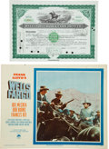 Western Expansion:Goldrush, Wells Fargo: Stock Certificate and Movie Poster....