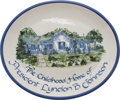 Political:Presidential Relics, China Platter with Picture of the Childhood Home of President Lyndon B. Johnson, Benefiting Lady Bird Johnson Wildflower C...