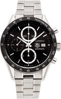 Timepieces:Wristwatch, Tag Heuer Carrera Steel Automatic Chronograph. ...