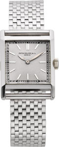 Timepieces:Wristwatch, Patek Philippe & Co. Gent's Very Fine Platinum Watch, Platinum Band, circa 1935. ...