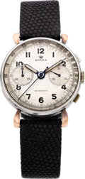 Timepieces:Wristwatch, Rolex Rare Ref. 4099 Steel & Gold Antimagnetic Vintage Chronograph, circa 1943. ...