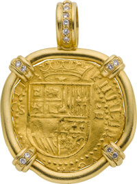Unique Spanish Gold Escudos Watch Fob With Diamond Set Frame