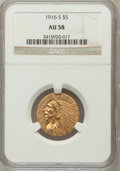 Indian Half Eagles: , 1916-S $5 AU58 NGC. NGC Census: (561/896). PCGS Population(199/758). Mintage: 240,000. Numismedia Wsl. Price for problem f...