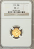 Gold Dollars: , 1870 G$1 MS62 NGC. NGC Census: (24/39). PCGS Population (22/50).Mintage: 6,335. Numismedia Wsl. Price for problem free NGC...