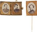 Political:Ferrotypes / Photo Badges (pre-1896), George McClellan and John C. Fremont: Civil War Items.... (Total: 2Items)