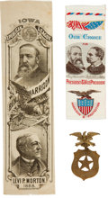 Political:Ribbons & Badges, Benjamin Harrison: Trio of Campaign Items.... (Total: 3 Items)