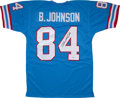 Football Collectibles:Uniforms, Billy White Shoes Johnson Signed Houston Oilers Jersey....