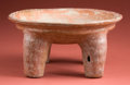 American Indian Art:Pottery, Tall Early Maya Plate with Incised Animal. ...