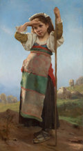 Paintings, VICTOR CHARLES THIRION (French, 1833-1878). Young Shepherdess, 1878. Oil on canvas . 54 x 30 inches (137.2 x 76.2 cm). S...