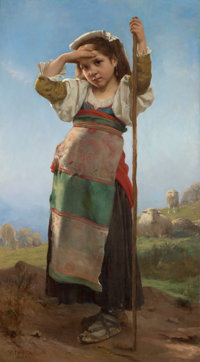 VICTOR CHARLES THIRION (French, 1833-1878) Young Shepherdess, 1878 Oil on canvas 54 x 30 inches