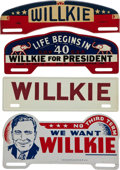 Political:3D & Other Display (1896-present), Wendell Willkie: Four Narrow License Plates.... (Total: 4 Items)
